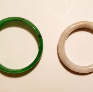Small Baby / Childs Green & White Jade Bracelets